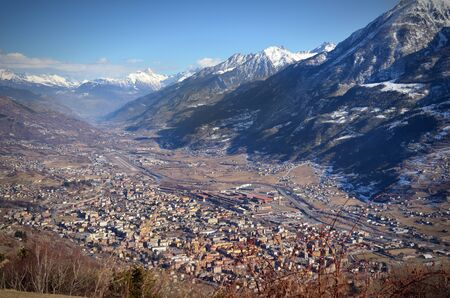aosta: High view of Aosta city and its valley in the Alps, northern Italy