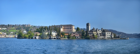 Panorama of San Giulio island on Lake Orta in northern Italy, lakes district photo