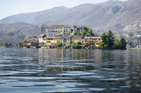 San Giulio island on Lake Orta in northern Italy, lakes district photo