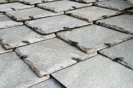 rooftiles: Traditional stone roof tiles, closeup of pattern Stock Photo