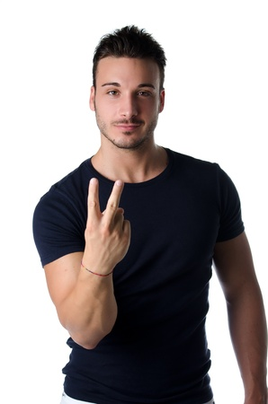Young man gesturing photo