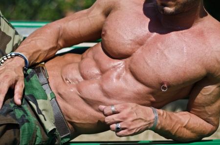 naked abs: Handsome, muscular bodybuilder