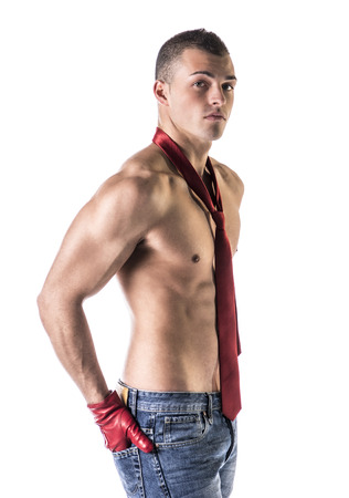 Attractive shirtless young man with red neck-tie and gloves, isolated on white photo