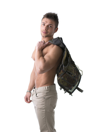 Muscular young man with military vest on shoulder isolated on white photo