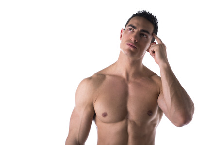 Male muscular shirtless bodybuilder thinking, scratching head with finger
