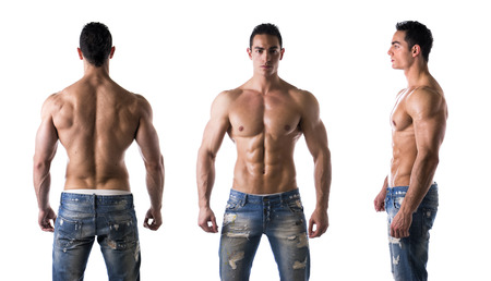 front side: Three views of muscular shirtless male bodybuilder: back, front and profile shot