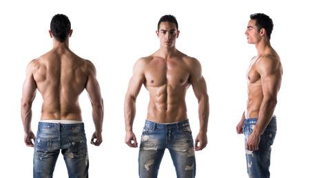 Tres puntos de vista de culturista masculino descamisado muscular: espalda, frente y perfil de tiro