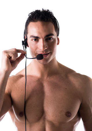 Muscular shirtless helpdesk operator or telemarketer with headset, isolated on white photo