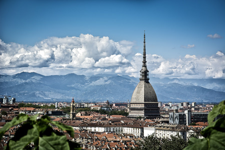 Panoramic view of Turin city center, in Italy, in a sunny day, with Mole Antonelliana and Alps in the background Zdjęcie Seryjne