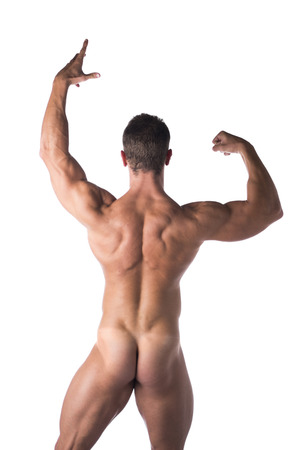 Body Fit Naked Man Strike a Pose Facing Back Isolated on White . Stock Photo