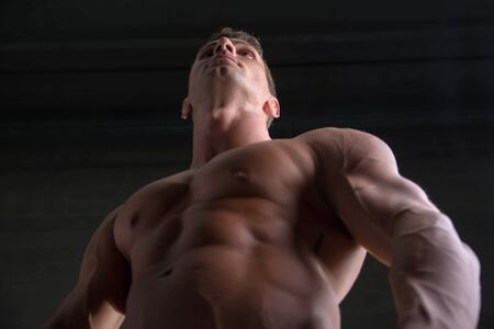 pectorals: Handsome shirtless bodybuilder shot from below angle, standing on dark background