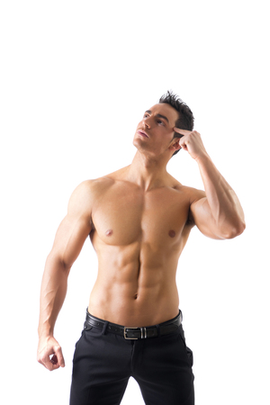 robust: Shirtless muscle man thinking while looking up, scratching his head, isolated on white background