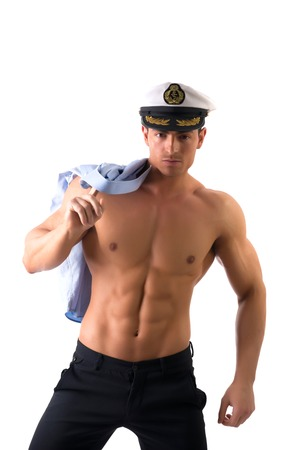 nude stomach: Muscular shirtless male sailor with marine hat, isolated on white