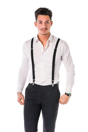 white suit: Handsome elegant young man with business suit, suspenders, isolated on white, smiling and looking  at camera