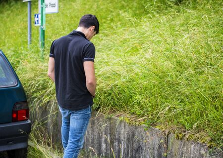 piss: Three-Quarter Rear View Shot of a Young Man Take a Piss for Awhile at the Grassy Roadside While Driving a Car.