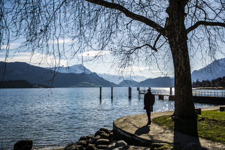 fascinating: Fascinating view of Lucerne Lake in Switzerland in a sunny day Stock Photo