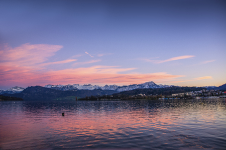 fascinating: Fascinating view of Lucerne Lake in Switzerland at dusk or sundown Stock Photo