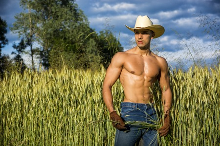 Portrait of sexy farmer or cowboy in hat looking to a side, while standing next to hay field in countryside Banco de Imagens