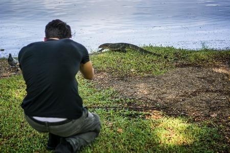 and the horizontal man: Back view of man shooting big lizard near water. Horizontal outdoors shot