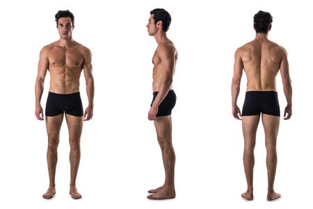 Drie standpunten van spierloze shirtloze mannelijke bodybuilder: achter-, voor- en profielschot, geïsoleerd op een witte achtergrond Stockfoto