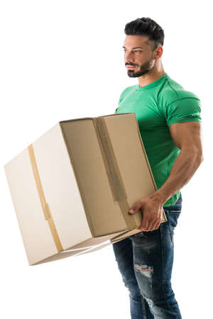 carrying: Attractive muscular man holding and carrying big cardboard box, isolated on white Stock Photo