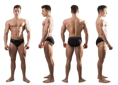 Four views of muscular shirtless male bodybuilder: back, front and profile shot, isolated on white background Foto de archivo