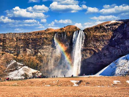 Seljalandsfoss, a majestic and powerful waterfall in Iceland