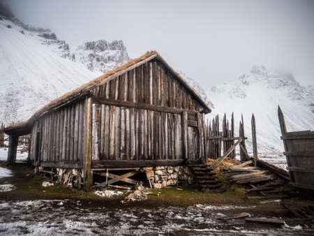 Old wooden house in majestic viking village in Iceland