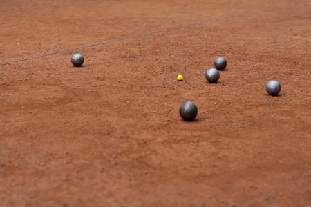 steel balls: Petanque. Petanque steel balls on the ground