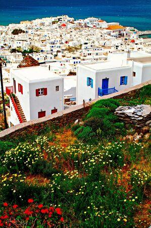 Greece, Cyclades islands, Mykonos, view of Mykonos town.
