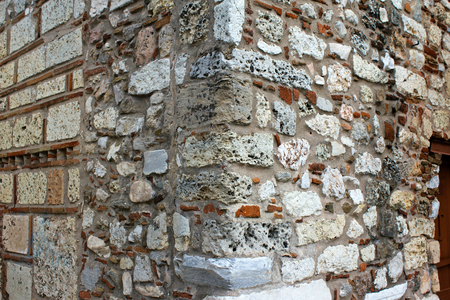 Stone wall texture, detail from old church in Athens, Greece