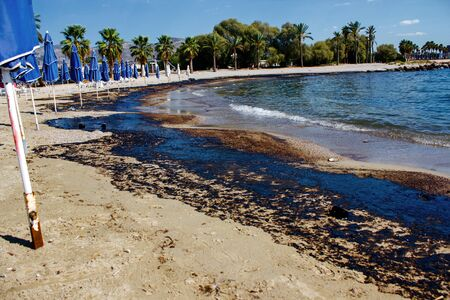 Greek oil spill spreads to Athens Riviera following the sinking of an oil tanker in Saronic Gulf, Athens, Greece, September 14 2017.