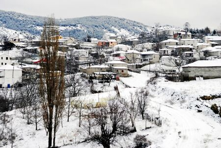 The snowy village Kryovrisi of mountain Olympus. Thessaly region, northern Greece.