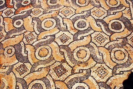 The mosaic of the country church, basilica of St. Vasileios of the town of Livadi, Astypalaia island, Dodecanese islands, Greece. Stock Photo