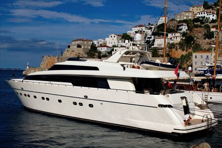 A yacht at the port of Hydra island, Greece, September 26 2015.