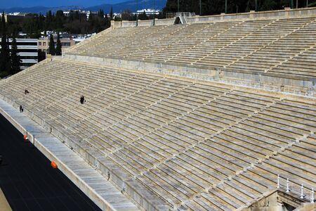 Empty seats of Panathenaic stadium in Athens, Greece.