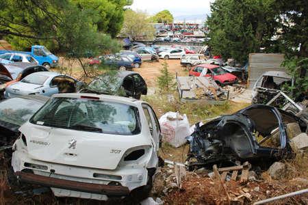 Dump with damaged and crashed cars - Athens, Greece, November 01 2019. Publikacyjne