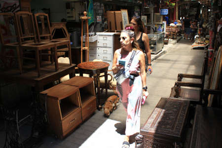 Greece, Athens, June 28 2020 - Shops with antique furniture in Monastiraki district.