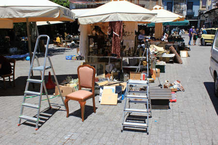 Greece, Athens, June 28 2020 - Store with souvenirs and vintage items for sale in Monastiraki district.