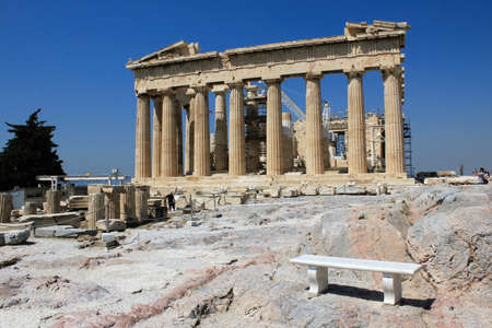 Greece, Athens, July 16 2020 - View of the archaeological site of the Acropolis, almost empty of visitors. Tourism has been the worst affected of all major economic sectors by the Covid-19 pandemic and despite the low coronavirus rate and a long list of n