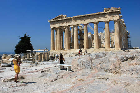 Greece, Athens, July 16 2020 - View of the archaeological site of Acropolis hill with Parthenon temple in the background.
