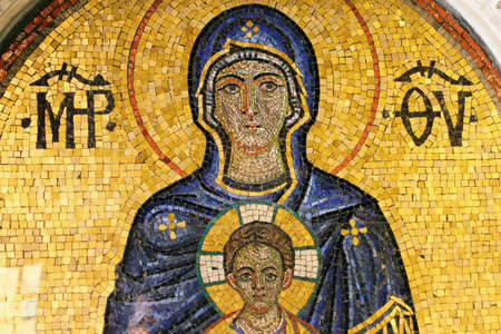 Greece, Athens, July 16 2020 - Mosaic showing Virgin Mary and Jesus Christ inside a Christian orthodox church. Editorial
