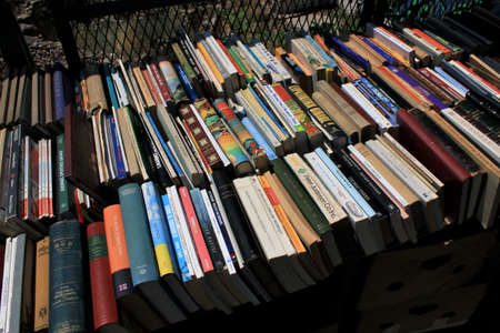 Greece, Athens, July 16 2020 - Stall with old books at street market in Monastiraki district.