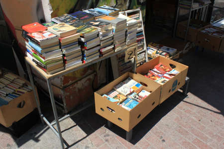 Greece, Athens, July 16 2020 - Old books and magazines for sale at street market in the center of Athens