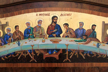 Greece, Athens, July 16 2020 - Old painting with the Last Supper outside an antique shop in the center of Athens.