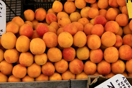 Close up of apricots at street market in the center of Athens in Greece, July 27 2020. Redakční