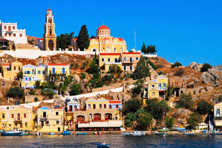 Greece, Symi island, view of the town of Symi.