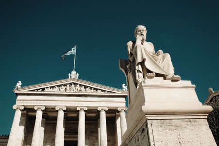 Statue of the ancient Greek philosopher Socrates in Athens, Greece. Stockfoto