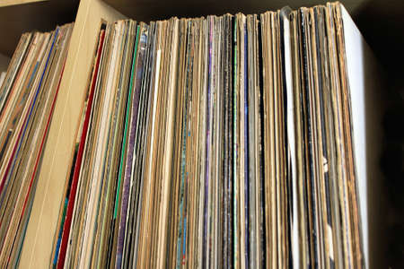 Storage of vinyl disks collection Stock fotó
