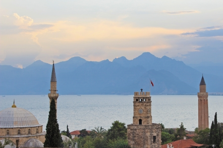 fluted: Old Town kaleici and building at Antalya from Turkey  Symbols of Antalya